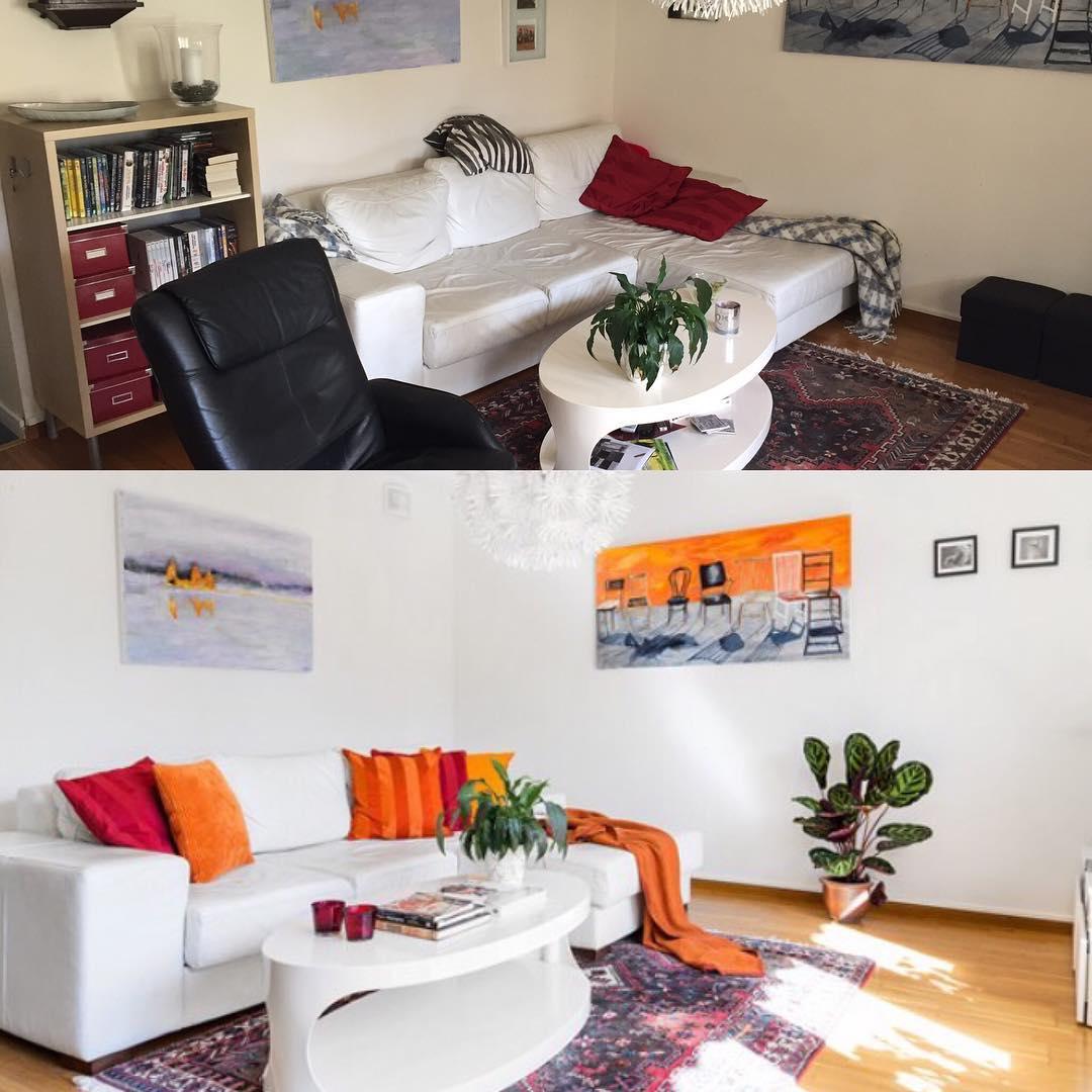 Före och efter:  Before and after. Före och efter. Styling Light inför försäljning.  Optimera din bostadsaffär med  ett 2h stylingbesök av Style by Carola.  #inredare #interior #staging #styling #beforeandafter #mäklare #livingroom #optimera #home